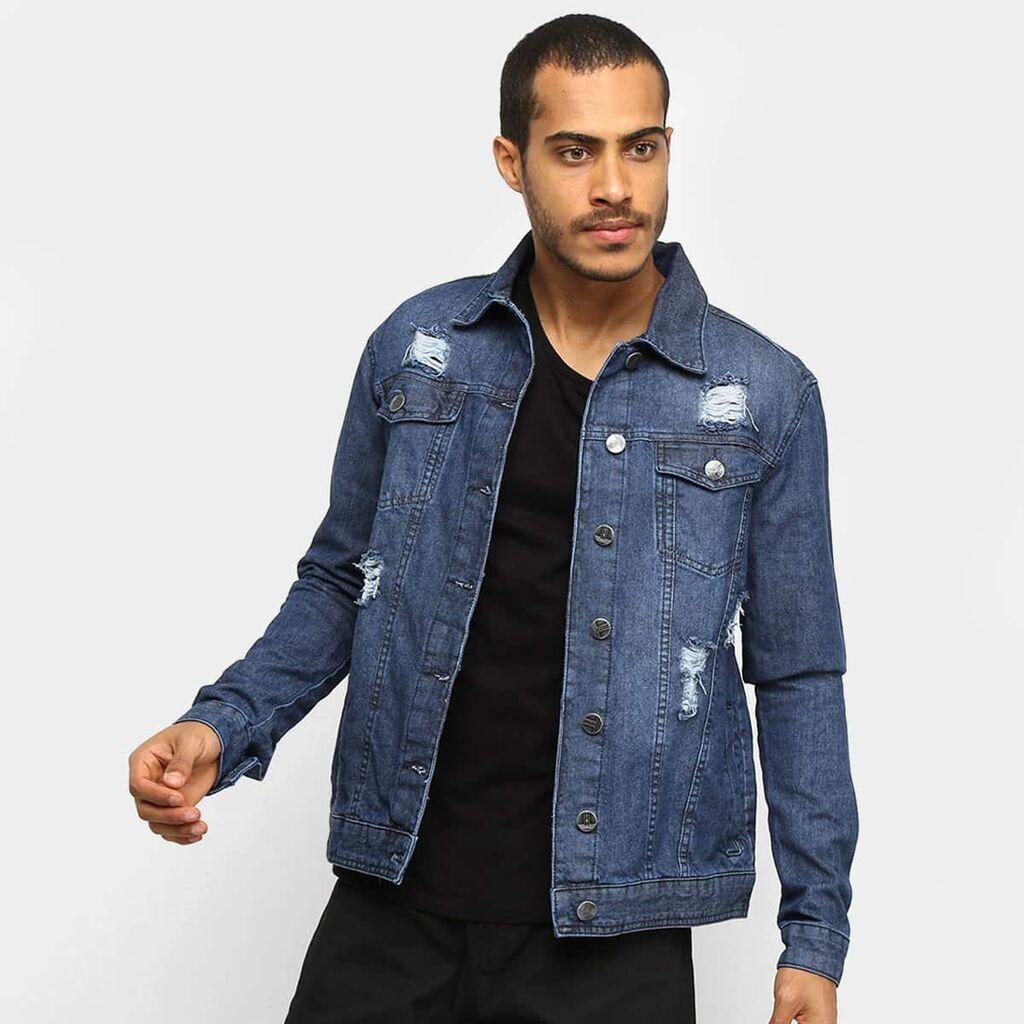 Jaqueta Jeans Ecxo Rasgos Masculina – Azul Escuro