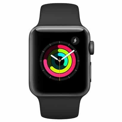 Apple Watch Series 3, GPS, 38 mm, Alumínio Cinza Espacial, Pulseira Esportiva Preto