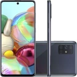 Smartphone Samsung Galaxy A71 128GB Dual Chip Android Tela 6,7″ Octa-Core 2.2 GHz 4G Câmera Quádrupla 64MP(Principal)+12MP(Ultra Wide)+5MP(Macro)+5MP(Profundidade) Filmadora 4K – Preto