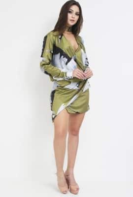 Vestido transpassado estampado