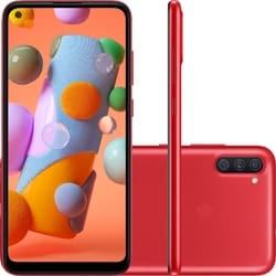 Smartphone Samsung Galaxy A11 64GB Dual Chip Android 10 Tela 6.4″ Octa-Core 4G Câmera Tripla 13MP+5MP+2MP – Vermelho