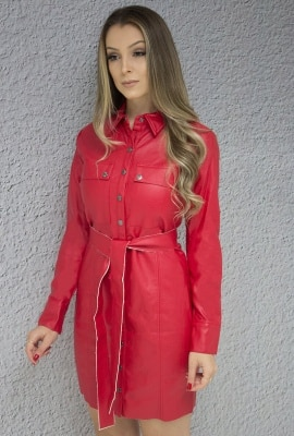 Vestido chemise em couro