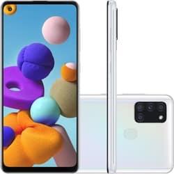 Smartphone Samsung Galaxy A21s Dual Chip Android 10 Tela 6.5″ Octa-Core 64GB 4G Câmera Quádrupla 48MP+8MP+2MP+2MP – Branco
