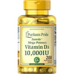 Vitamina D D-3 10000ui 200 Softgels Importado Puritans Pride