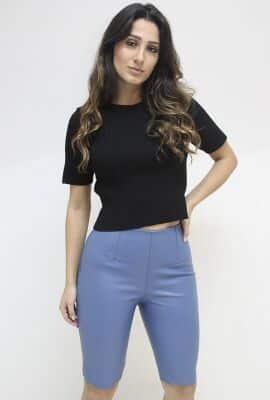 Blusa curta de tricot