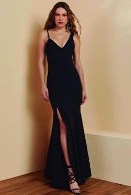 Vestido longo alças assimétricas Viber