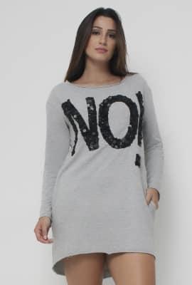 Vestido t-shirt com bordado Viber