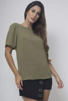 Blusa manga curta com recorte nas costas Viber
