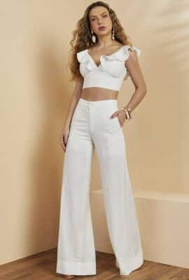 Calça pantalona com tecido texturizado Viber