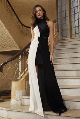 Vestido longo gola alta bicolor Viber