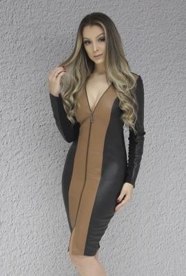 Vestido manga longa midi em couro Viber