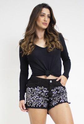 Shorts curto em sarja com bordado Viber