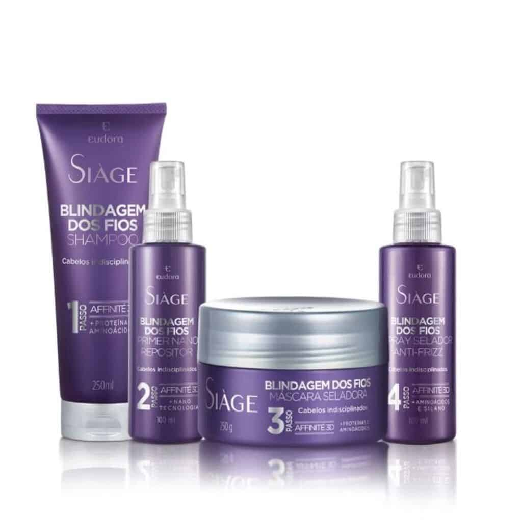 Kit Siàge Blindagem: Shampoo + Primer + Máscara + Spray Selador