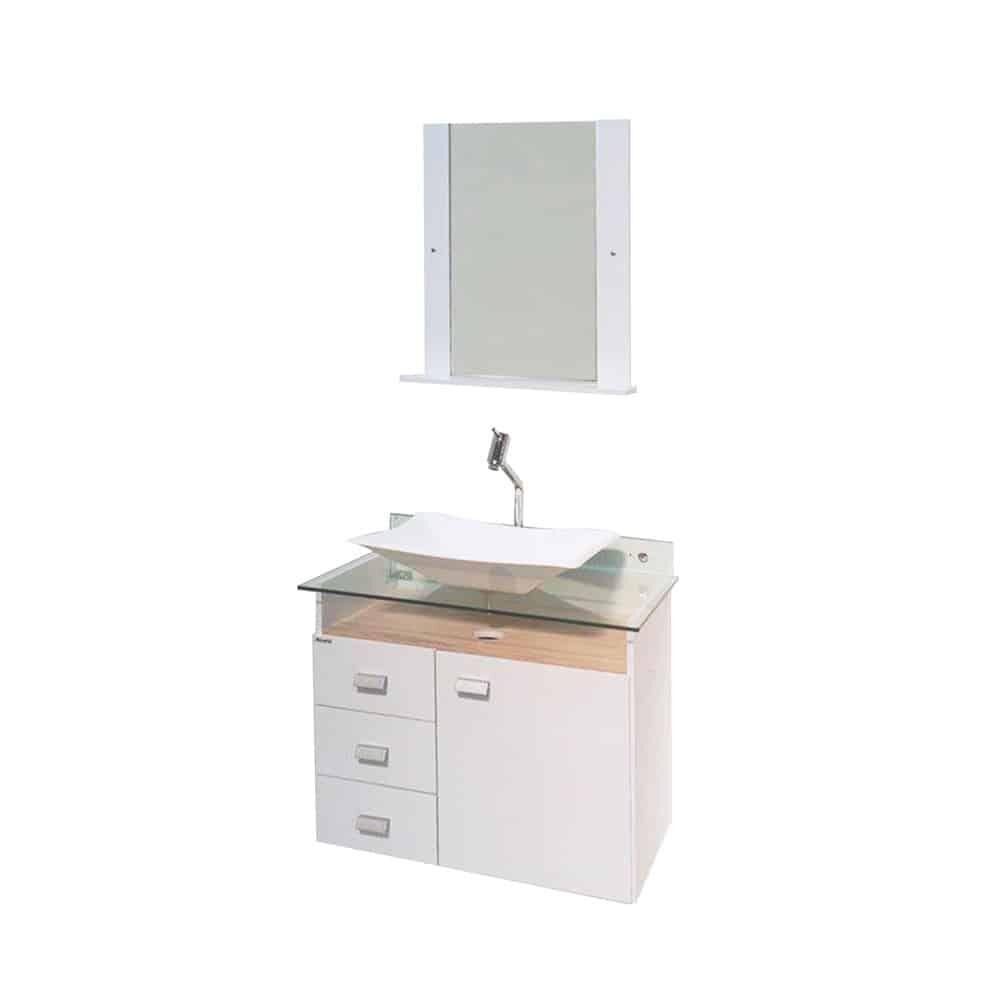 Gabinete de banheiro com cuba e espelheira Classic 39x68cm branco e madeirado Bonatto