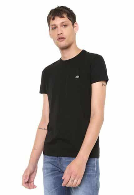 Camiseta Lacoste Gola Redonda Preta