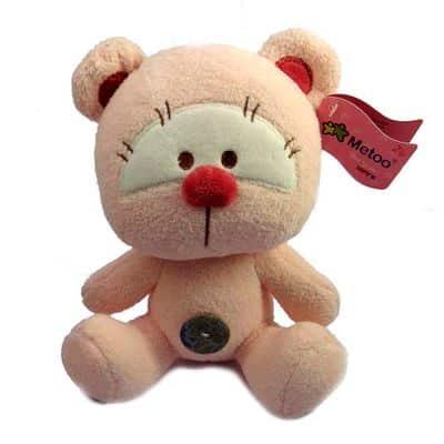 Pelúcia 22 CM – Ursinho com Botão – Rosa – Love