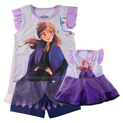 Conjunto de Pijama Infantil e Camisola para Boneca – Disney – Frozen 2 – Anna – Algodão e Poliéster – Roxo – Minimi – 3