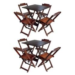 Kit 2 Jogos De Mesa Com 4 Cadeiras De Madeira Dobravel 60×60 Ideal Para Bar E Restaurante – Imbuia