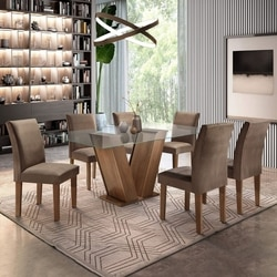 Conjunto Sala de Jantar Mesa Tampo de Vidro 6 Cadeiras Classic Cel Móveis Chocolate/Animale Marrom